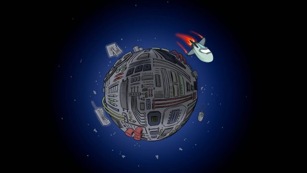 "A cartoon of a spaceship orbiting a planet: ""Legacy World"""