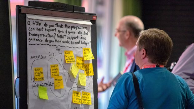 A flipchart in a workshop on support professions can provide, at Cardiff Transforming Together