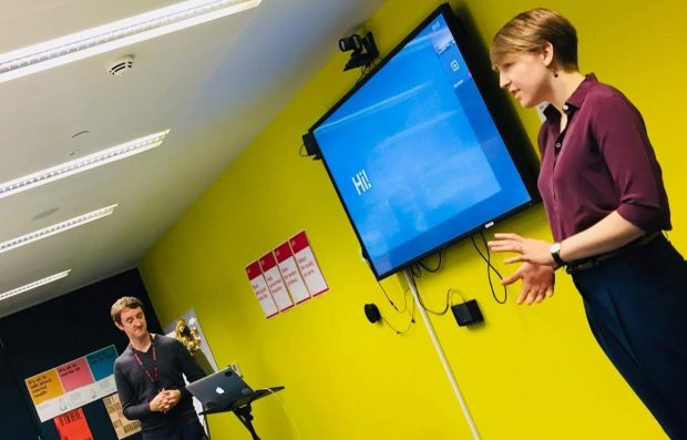 Two facilitators at a 7 Lenses workshop