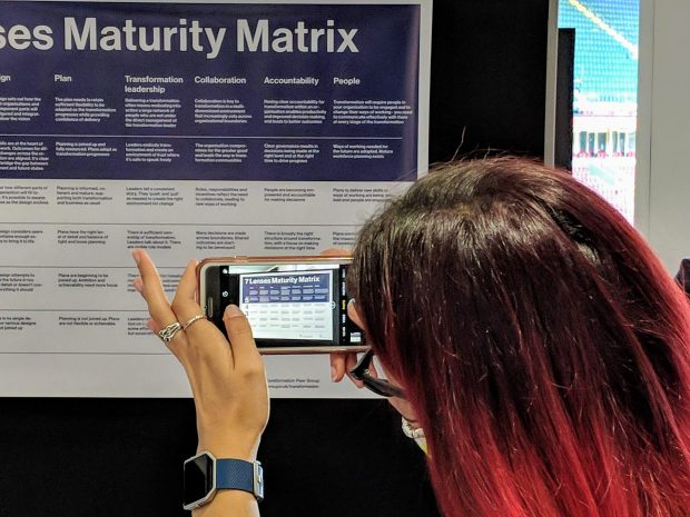 Someone taking a picture of the 7 Lenses Maturity Matrix with their phone