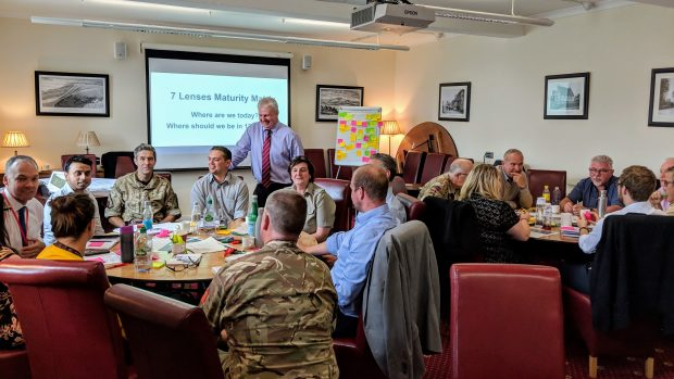 "A workshop at the Ministry of Defence, people in smart attire, military fatigues, and more casual clothes sitting round two tables. In the background, a slide with the questions ""where are we today?"" and ""where should we be in 12 months?"" is showing."
