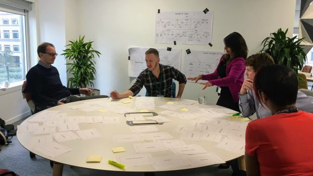 A group of five people (4 sitting, 1 standing) around a circular table. Cards with writing on are spread across the table, and the team are discussing the content of one of them. There are posters with writing on the wall behind them.